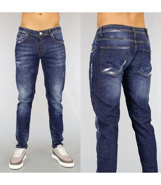 Donkerblauwe Old Look Jeans met Verfspatten