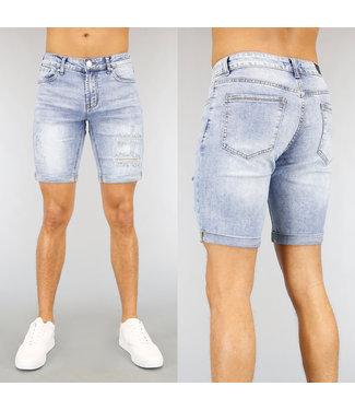 NEW2502 Lichtblauw Light Washed Heren Short met Scheuren