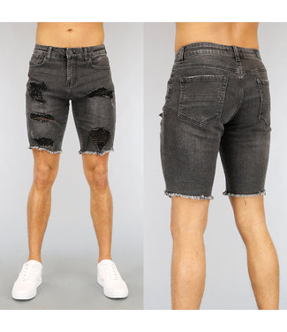 NEW2502 Zwart Light Washed Heren Short met Scheuren