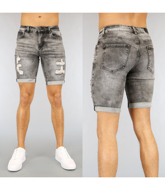 NEW2502 Grijs Light Washed Heren Short met Scheuren