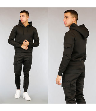 NEW2502 Basic Zwart Heren Huispak met Hoodie