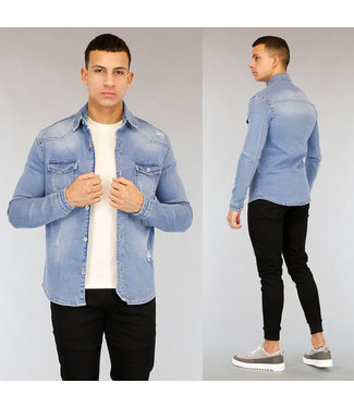 Blauwe Heren Jeans Blouse met Scheuren