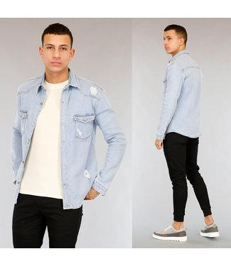 Lichtblauwe Heren Jeans Blouse met Scheuren