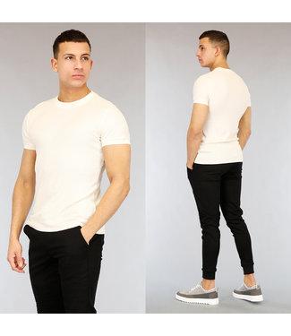 NEW2502 Ecru Heren T-Shirt met Reliëf