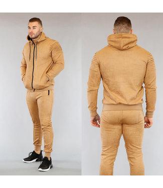 NEW0503 Camel Suède Look Heren Huispak met Vest
