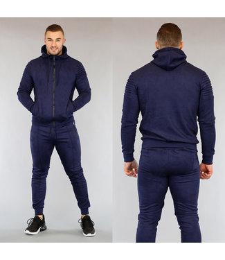 NEW0503 Donkerblauw Suède Look Heren Huispak met Vest