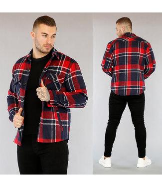 Tweed Heren Houthakkers Blouse Rood/Blauw