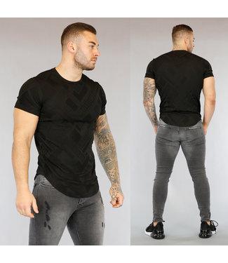 Zwart Heren T-Shirt met Grafische Opdruk