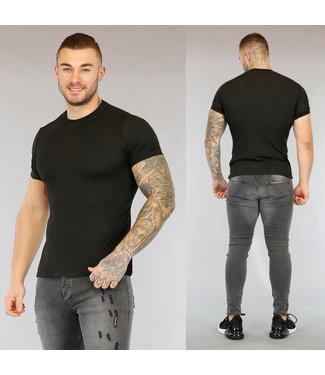 NEW0503 Zwart Heren T-Shirt met Reliëf