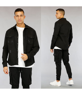 NEW1803 Zwarte Heren Jeans Blouse met Scheuren