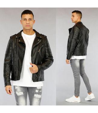 NEW1803 Zwart Lederlook Jacket met Zilveren Details