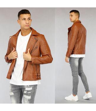 NEW1803 Bruin Lederlook Jacket