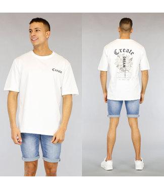 NEW1803 Wit Oversized Heren Create Shirt