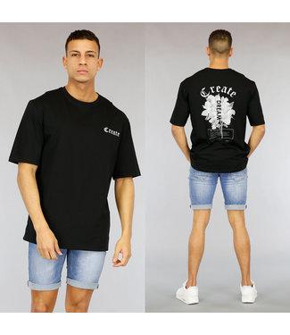 NEW1803 Zwart Oversized Heren Create Shirt