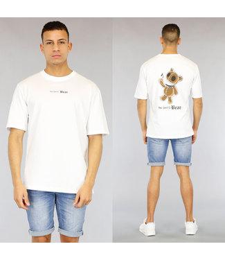 NEW1803 Wit Oversized Heren Evil Bear Shirt