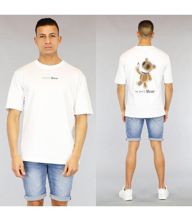 !SALE40 Wit Oversized Heren Evil Bear Shirt