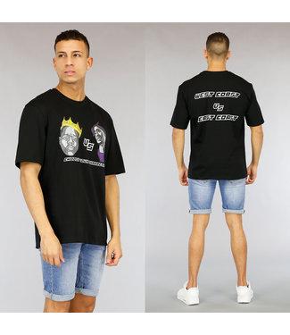 NEW1803 Zwart Oversized Heren Character Shirt