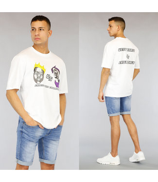 !OP=OP Wit Oversized Heren Character Shirt