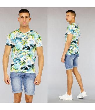 NEW1803 Blauw Palmtree Print Heren Shirt