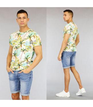 NEW1803 Ecru Heren Shirt met Palmtree Print
