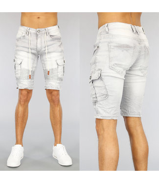 NEW1803 Grijs Jeans Heren Short met Details