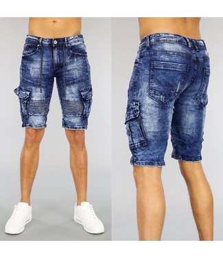 NEW1803 Blauw Acid Jeans Heren Short met Details