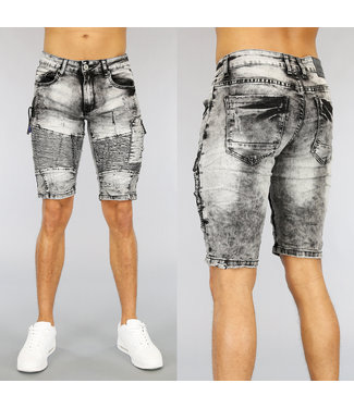 NEW1803 Acid Washed Heren Jeans Short met Ribbels