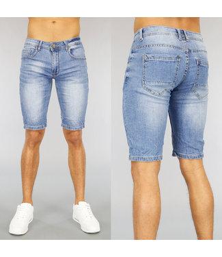 !SALE40 Lichtblauw Straight Fit Heren Jeans Short