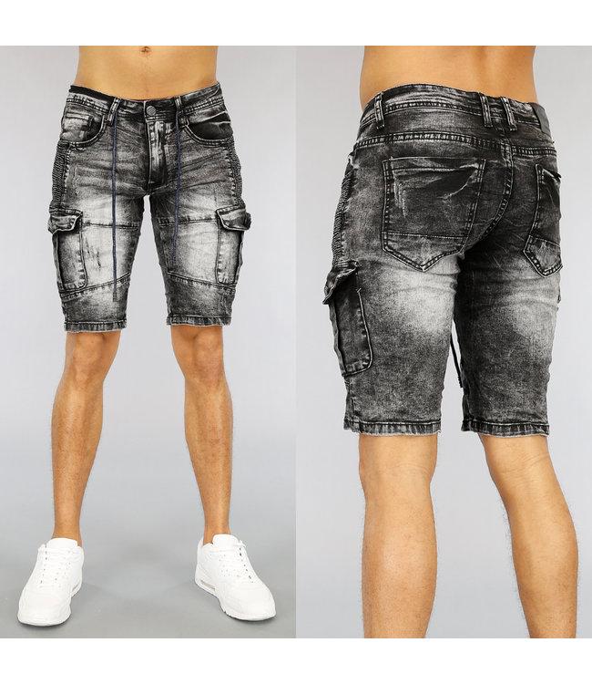 !SALE40 Acid Washed Heren Jeans Short met Zakken