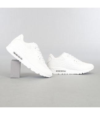 Witte Heren Lucht Sneakers met Stippen Veters