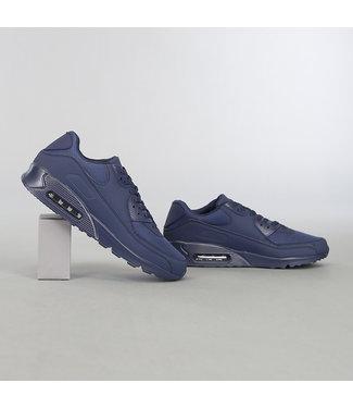 Blauwe Lederlook Heren Sneakers met Lucht Zool
