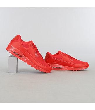 !OP=OP Rode Lederlook Heren Sneakers met Lucht Zool