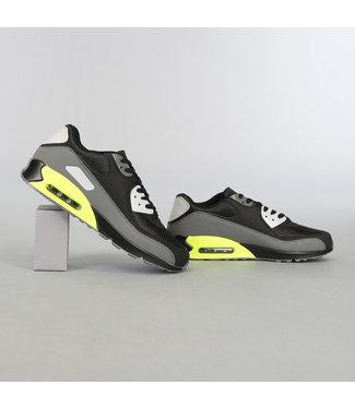 Zwart/Neon Heren Sneakers met Lucht Zool