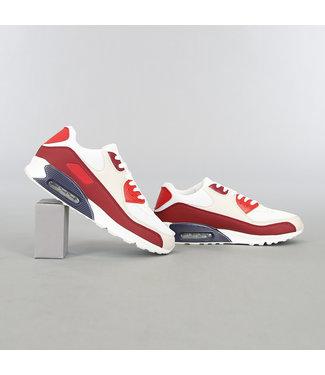 Rood/Witte Heren Sneakers met Lucht Zool