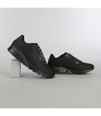Zwarte Heren Lucht Sneakers met Stippen Veters