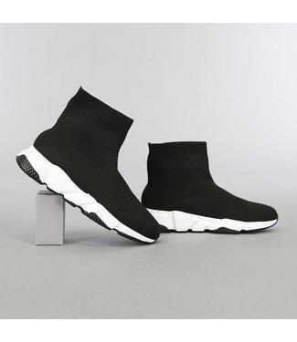 NEW2603 Zwarte Heren Sock Sneakers met Witte Zool