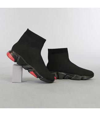 Zwarte Heren Sock Sneakers met Zwart/Rode Zool