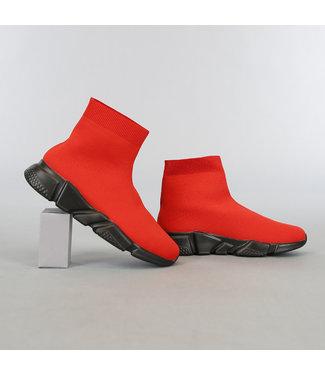 Rode Heren Sock Sneakers met Zwarte Zool