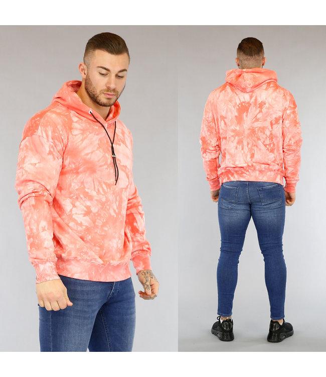 NEW2603 Roze Tie Dye Heren Hoodie met Trekkoord