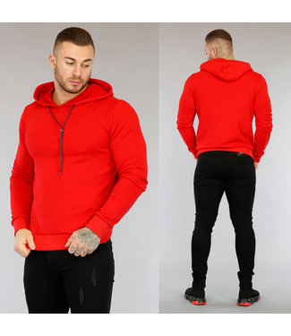 NEW2603 Rode Basic Heren Hoodie