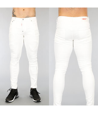 NEW3004 Witte Old Look Heren Jeans met Ribbels