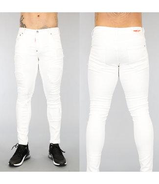 !OP=OP Witte Old Look Heren Jeans met Ribbels