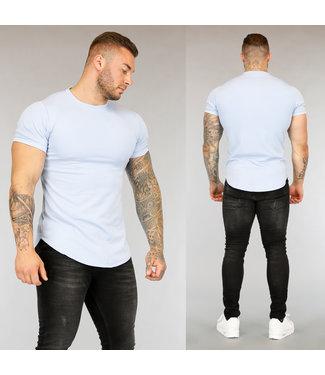 Lichtblauw Heren T-Shirt met Streep Reliëf
