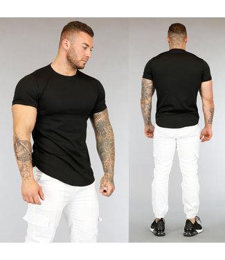 Zwart Heren T-Shirt met Streep Reliëf