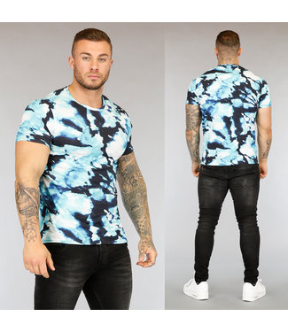NEW3004 Blauw Tie Dye Heren T-Shirt