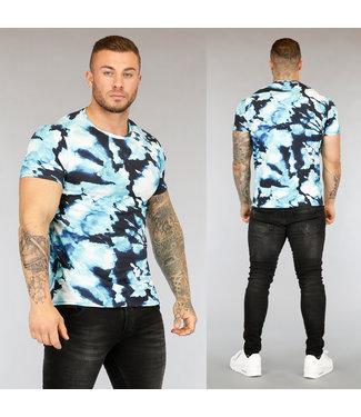 !SALE40 Blauw Tie Dye Heren T-Shirt