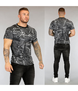 NEW3004 Grijs Heren T-Shirt met Jeans Print