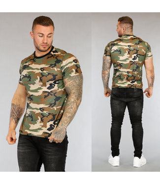 NEW3004 Heren T-Shirt met Camouflageprint