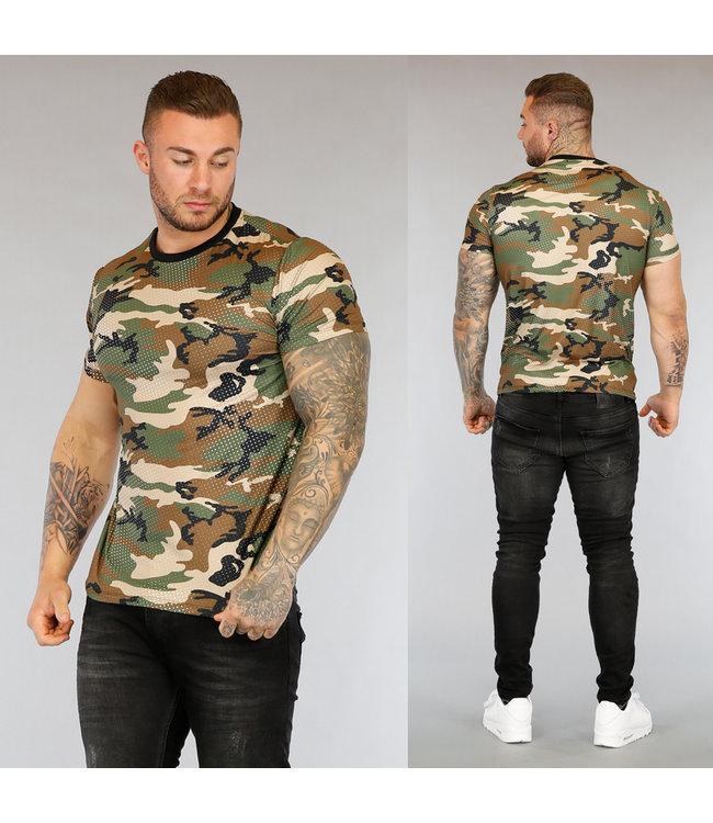 NEW3004 Heren T-Shirt met Camouflageprint