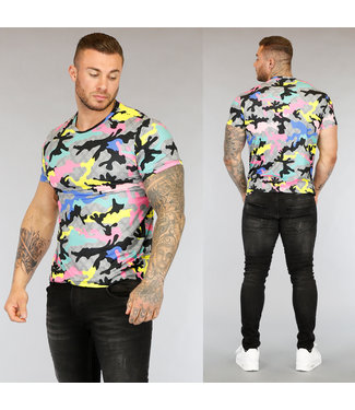 NEW3004 Multicolor Heren T-Shirt met Camouflageprint